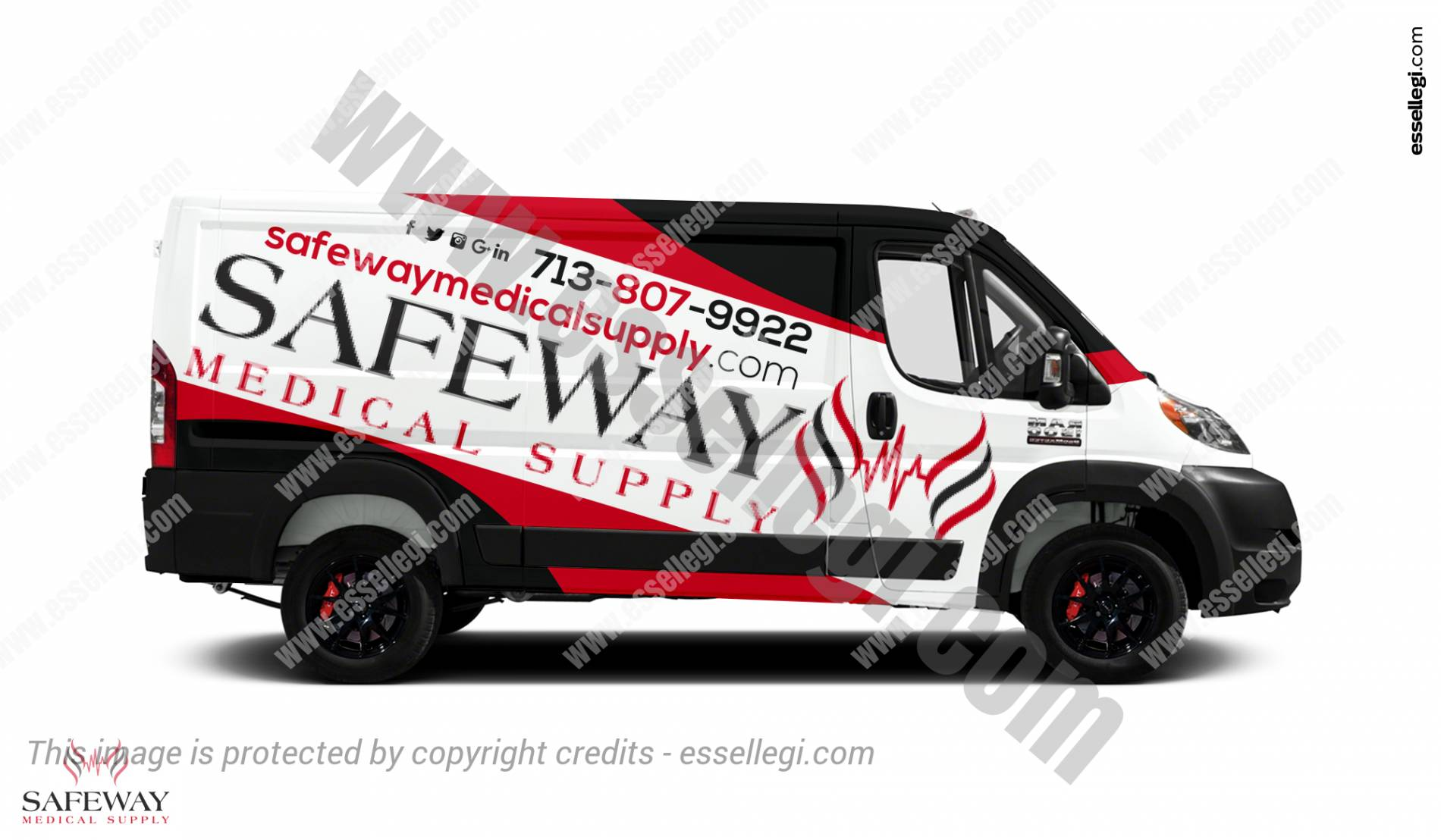 Dodge Ram ProMaster 1500 | Van Wrap Design by Essellegi.Van Signs, Van Signage, Van Wrapping, Van Signwriting, Van Wrap Designer, Signs for Van, Van Logo by Essellegi.