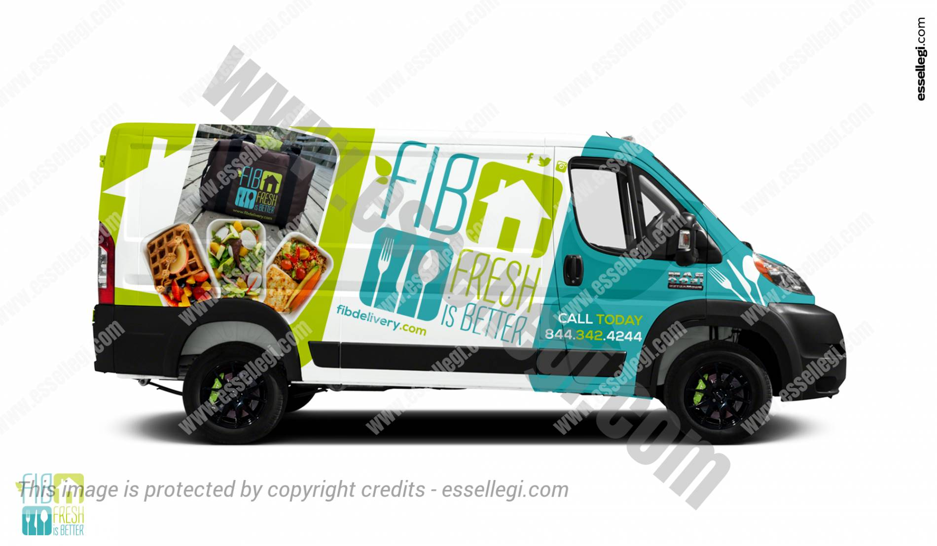 Dodge Ram ProMaster 1500 | Van Wrap Design by Essellegi. Van Signs, Van Signage, Van Wrapping, Van Signwriting, Van Wrap Designer, Signs for Van, Van Logo by Essellegi.