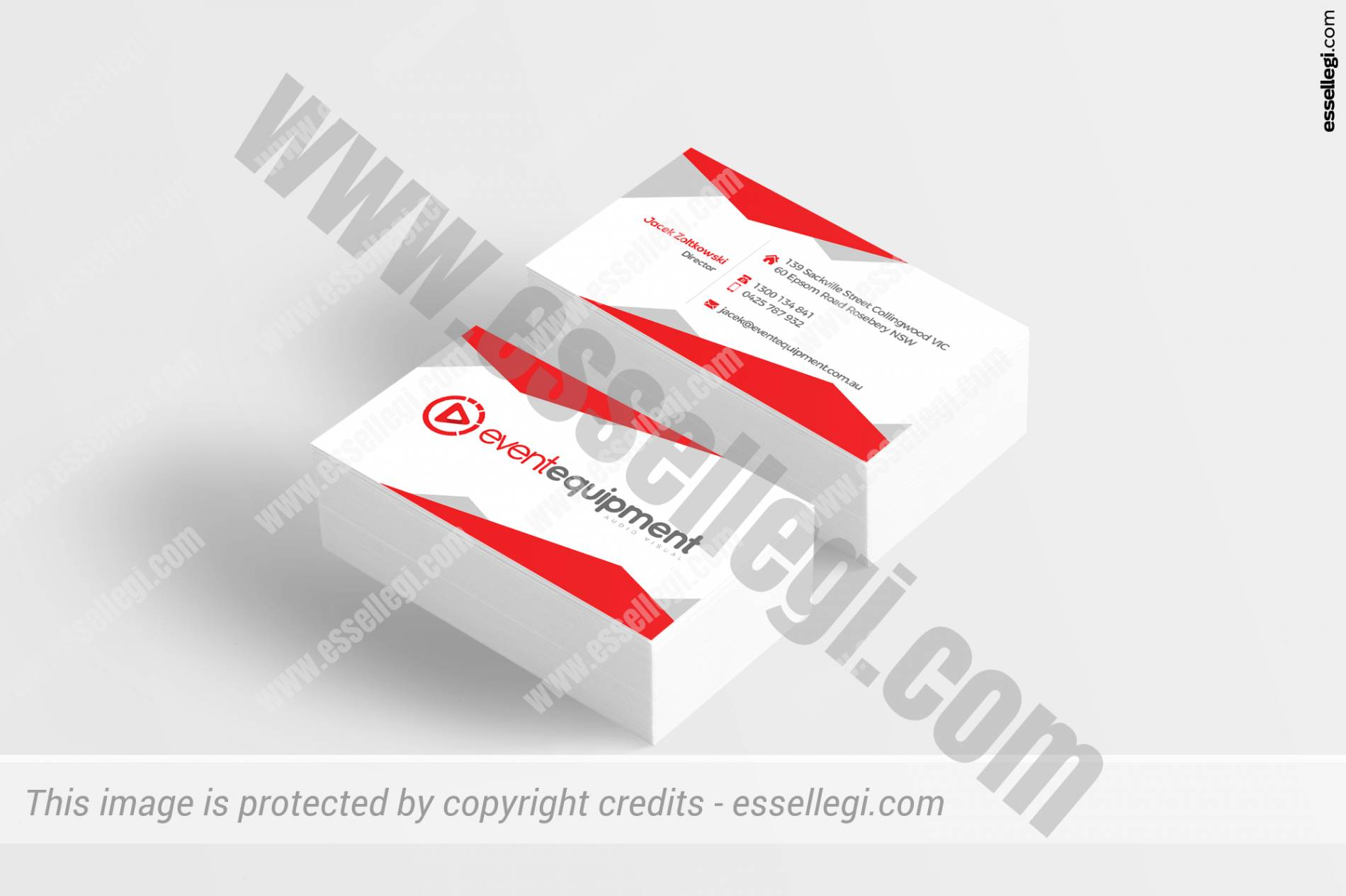 Business Card Design. Event Equipment Audio Visual Events Brand Identity Design by Essellegi Design