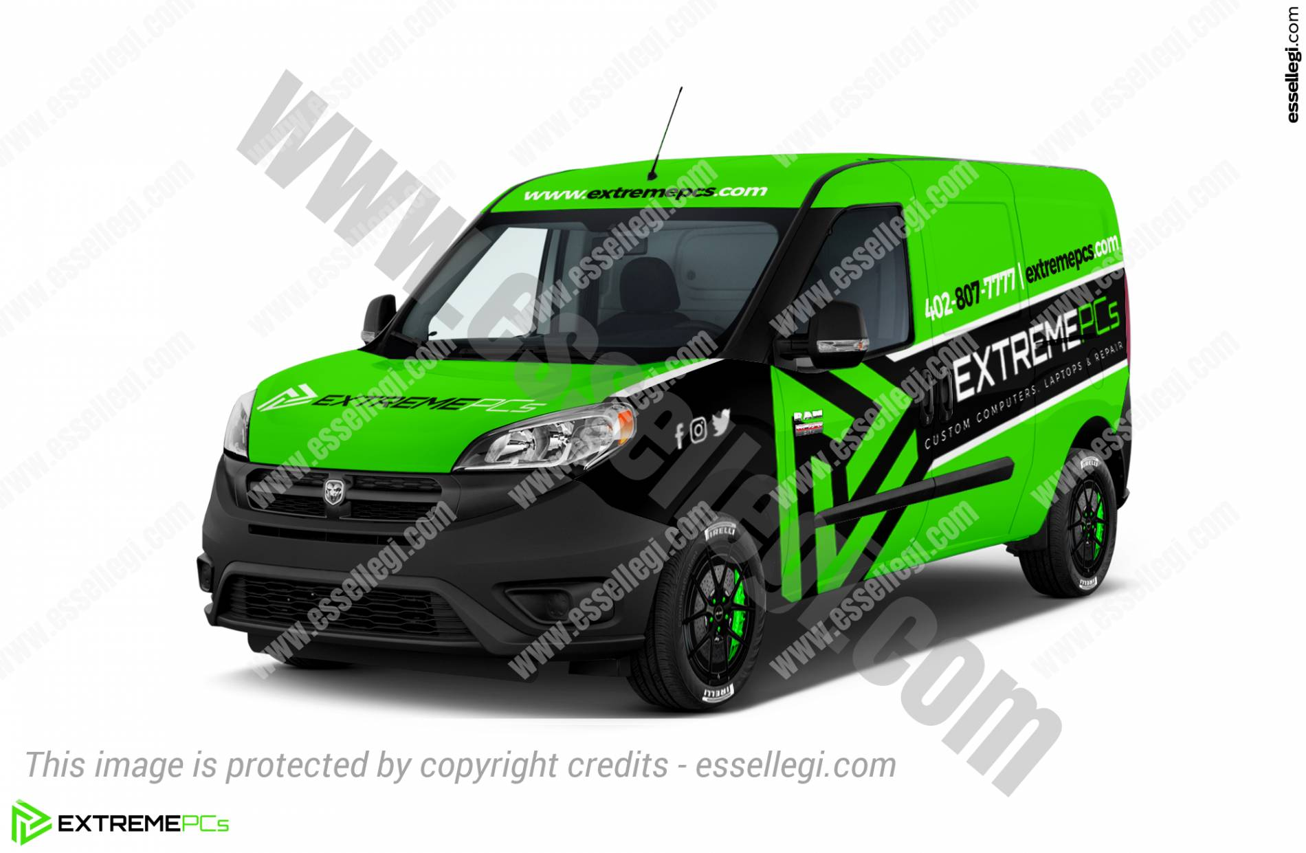 Dodge RAM ProMaster City Wrap Design. Dodge RAM ProMaster City | Van Wrap Design by Essellegi. Van Signs, Van Signage, Van Wrapping, Van Signwriting, Van Wrap Designer, Signs for Van, Van Logo, Van Graphic by Essellegi.
