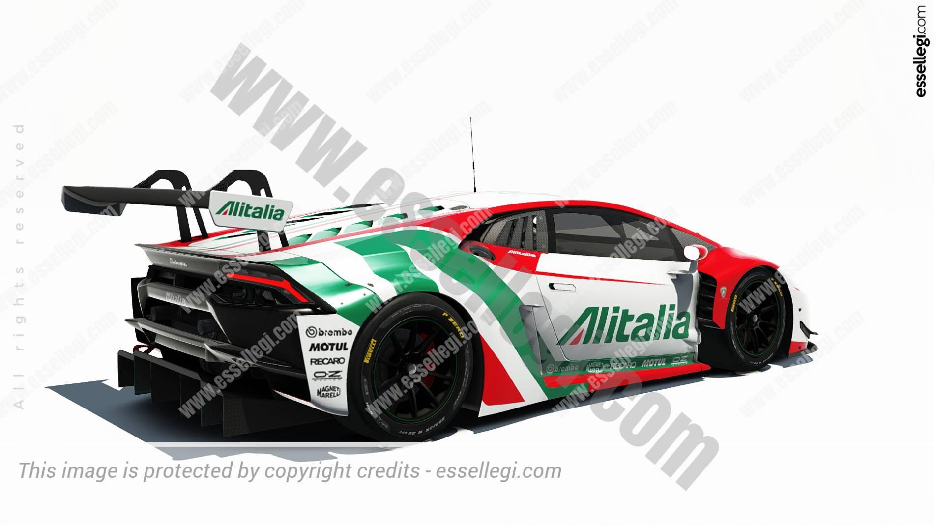Lamborghini huracan gt3 alitalia tribute racing car livery