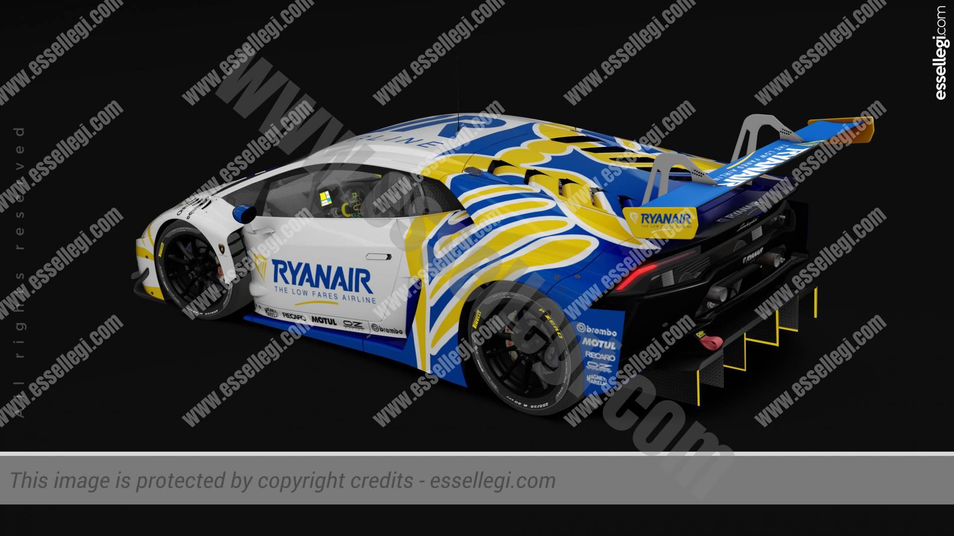 LAMBORGHINI HURACAN GT3   RYANAIR TRIBUTE RACING CAR LIVERY