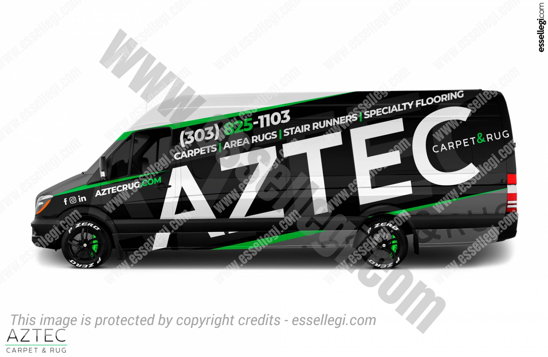 AZTEC CARPET & RUG   VAN WRAP DESIGN  🇺🇸