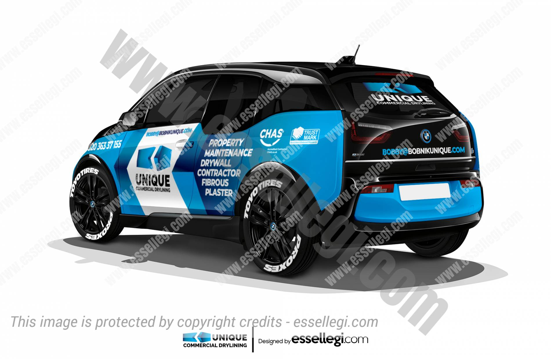 BMW i3 wrap. BMW i3 | Car Wrap Design by Essellegi. Car Signs, Car Signage, Car Signwriting, Car Wrap Designer, Car Graphic, Custom Vehicle Signage, Car Wrap Design by Essellegi.