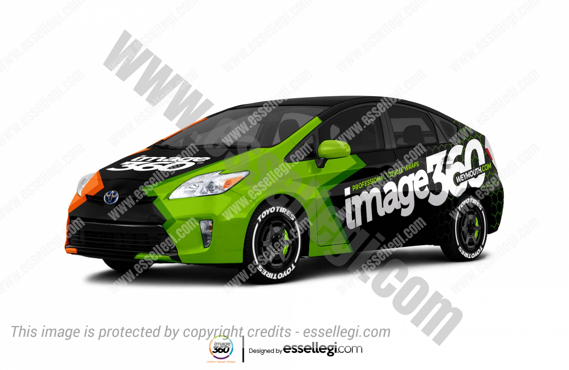 Toyota Prius wrap. Toyota Prius | Car Wrap Design by Essellegi. Car Signs, Car Signage, Car Signwriting, Car Wrap Designer, Car Graphic, Custom Vehicle Signage, Car Wrap Design by Essellegi.