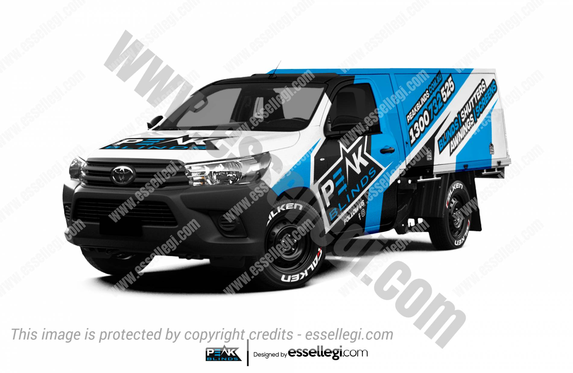 Toyota Hilux Wrap Design. Toyota Hilux Wrap | Truck Wrap Design by Essellegi. Truck Signs, Van Signage, Van Wrapping, Van Signwriting, Van Wrap Designer, Signs for Van, Van Logo, Van Graphic by Essellegi.