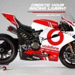 Ducati 1299 Panigale R | Vodafone Tribute Racing Bike Livery. Racing Bike Liveries, Bike Livery, Bike Liveries, Motorsport Livery, Motorsport Liveries, Race Bike Livery, Race Bike Liveries